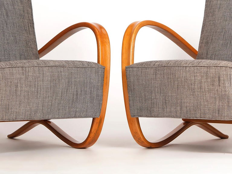 20th Century H 269 Streamline Chairs by Jindrich Halabala for UP Zavody, 1930s, Set of Two