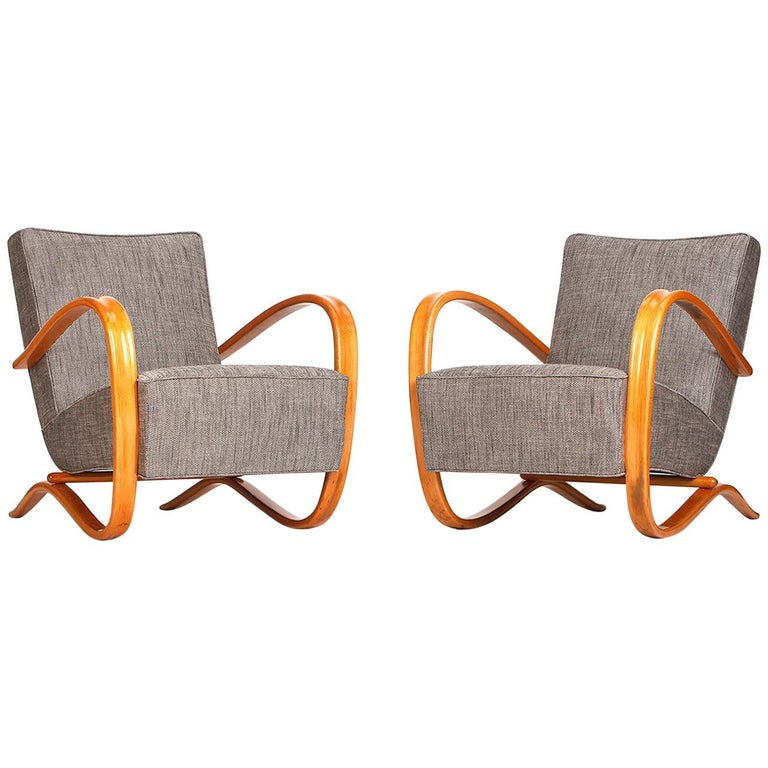 H 269 Streamline Chairs by Jindrich Halabala for UP Zavody, 1930s, Set of Two