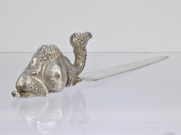 H A Cary Figural Orientalist One Hump Camel Sterling Silver Letter Opener For Sale 2