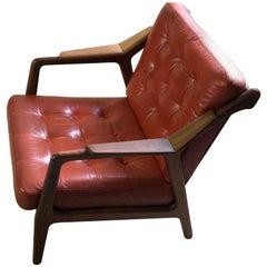 H. Brockmann Petersen Loungechair, Red Leather Mid-Century Modern