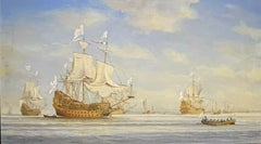 LARGE BRITISH HISTORICAL MARITIME OIL PAINTING - 17TH CENTURY SHIPS AT SEA