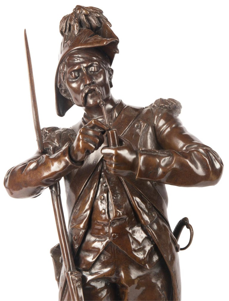 A pair of French bronze figures entitled 'Avant le combat' and 'Apres le combat' Cast from the models by Etienne-Henri Dumaige, last quarter of the 19th century. Signed H. Dumaige, with title plaquettes.