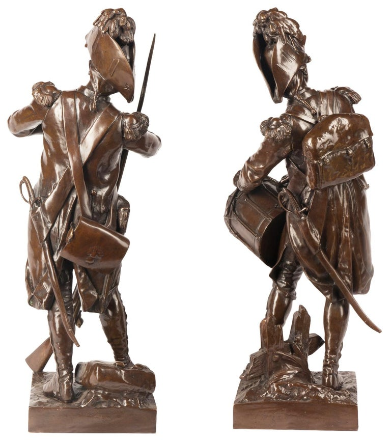 H. Dumaige Pair of 19th Century French Bronze Soldiers For Sale 2