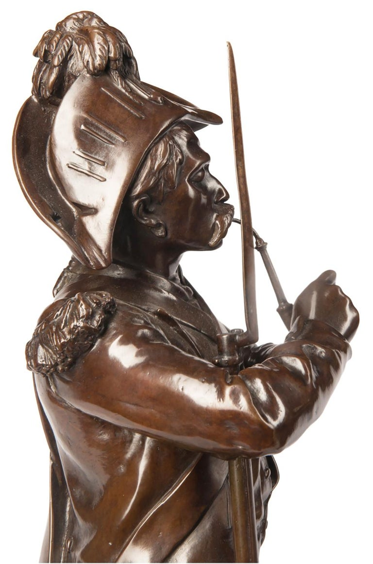 H. Dumaige Pair of 19th Century French Bronze Soldiers For Sale 5
