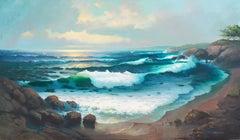'Pacific Sunset', Very Large Oil, Huntington Beach Art League, Maui, Hawaii