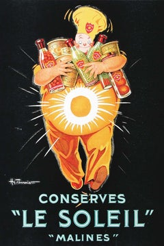 """""""Conserves 'Le Soleil'"""" small store advertising display 1930 with Chef"""