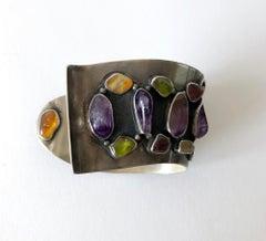 H. Fred Skaggs Arizona Modern Sterling Amethyst Peridot Citrine Cuff Bracelet
