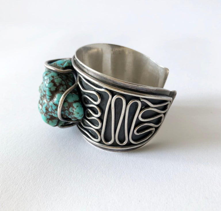 Sterling silver and sea foam turquoise bracelet created by H. Fred Skaggs of Scottsdale, Arizona. Turquoise nugget measures 2.25