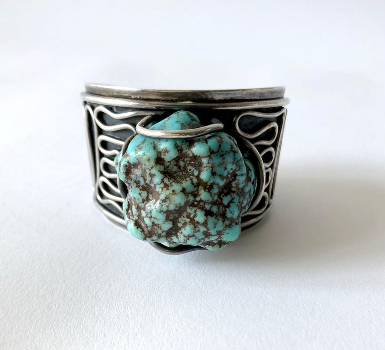 H. Fred Skaggs Arizona Modern Sterling Silver Sea Foam Turquoise Bracelet In Good Condition For Sale In Los Angeles, CA