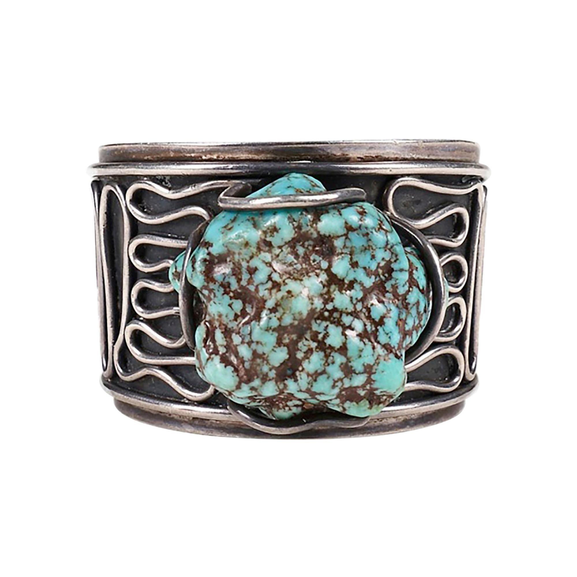 H. Fred Skaggs Arizona Modern Sterling Silver Sea Foam Turquoise Bracelet