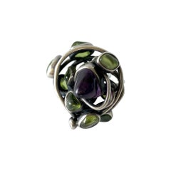 H. Fred Skaggs Arizona Modernist Sterling Amethyst Peridot Ring