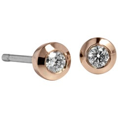 H & H 0.14 Carat Bezel Set Diamond Stud Earrings
