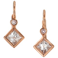 H & H 0.51 Carat Bezel-Set Square Diamond Lever-Back Earrings