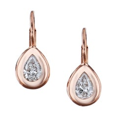 0.57 Carat Pear-Shaped Diamond 18 karat Rose Gold Lever-Back Earrings Handmade