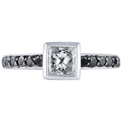 H & H 0.58 Carat Princess Cut Diamond with Black Diamond Pave Engagement Ring