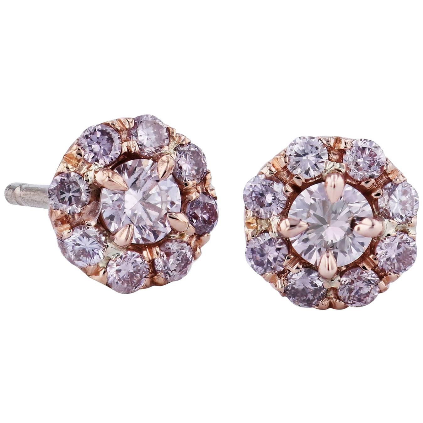 H&H 0.60 Carat Natural Pink Diamond Rose Gold Stud Earrings