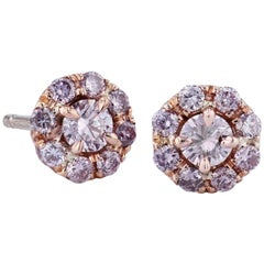 H & H 0.60 Carat Pink Diamond Stud Earrings