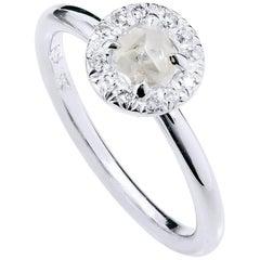 H & H 0.64 Carat Natural Rough Diamond Engagement Ring made of 18 Kt Palladium