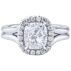 GIA Certified 2.02 Carat Diamond and Platinum Halo Engagement Ring made by H&H