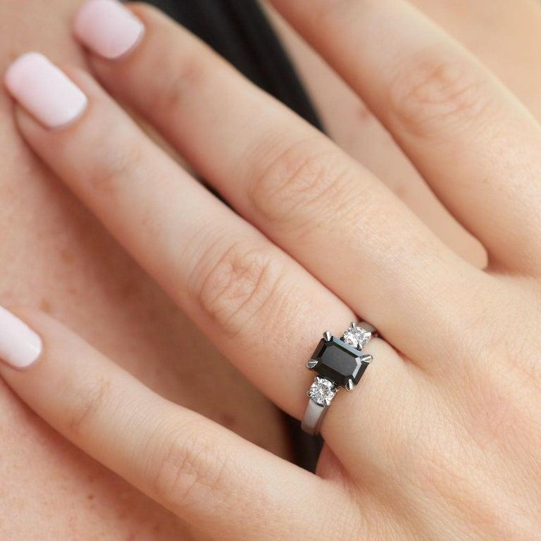 Women's 2.34 Carat Emerald Cut Black Diamond Engagement Ring Handmade by H&H Jewels