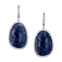 H & H 32.27 Carat Blue Sapphire Drop Earrings