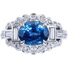 H & H 3.74 Carat Oval Ceylon Blue Sapphire and Diamond Ring