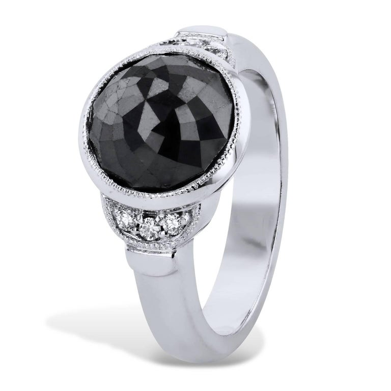 H & H 4.00 Carat Rose Cut Black Diamond Ring In Excellent Condition For Sale In Miami, FL