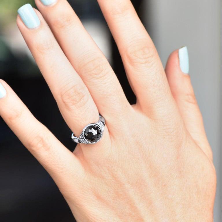 Women's H & H 4.00 Carat Rose Cut Black Diamond Ring For Sale