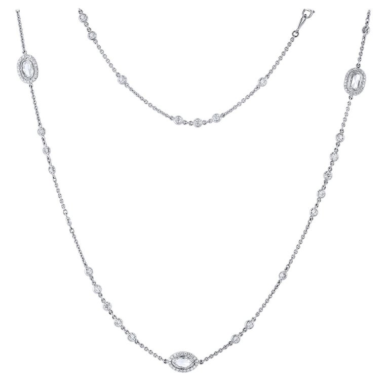 4.98 carats of Bezel set Diamonds by The Yard in 18 karat White Gold Necklace For Sale