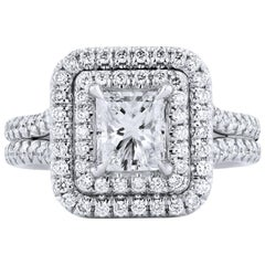 H & H Double Halo Diamond and Platinum Engagement Ring
