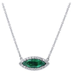 H&H Handmade Emerald and Diamond Halo Pendant Necklace