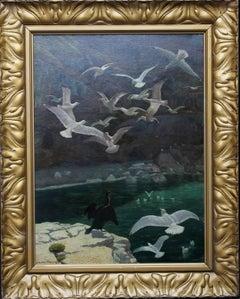 Seagulls in the Harbour - Edwardian British art oil marine seascape Cornwall