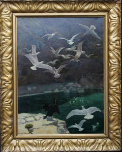 Seagulls in the Harbour - Edwardian British art oil marine seascape Cornwall