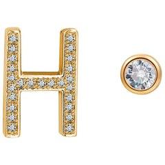 H Initial Bezel Mismatched Earrings