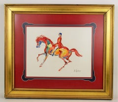 Surreal  Red Horse Equestrian Painting