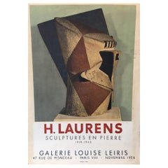 H. Laurens Sculptures En Pierre Original Vinatge Poster