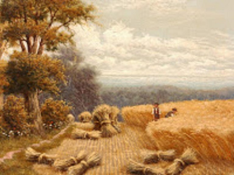 Charming Horace Mann Livens painting shows two hatted farmers harvesting hay. Golden sheaves of wheat are balanced by the trees at edge of field.  Note: H. Livens is credited with the first recorded painting  of Van Gogh, who was a fellow student at