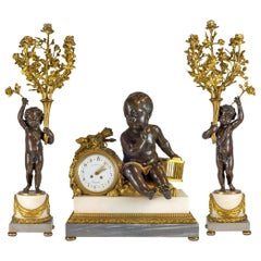H. Luppen & Cie, Bronze and Marble Three-Piece Mantel Clock Set