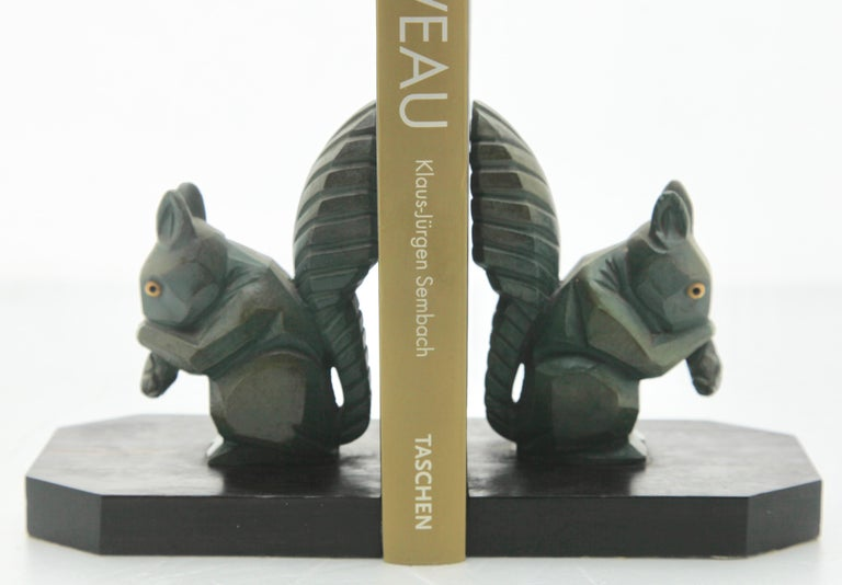 H. Moreau Signed Pair of Art Deco Squirrel Bookends,