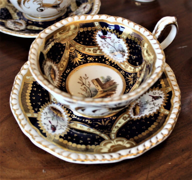H & R Daniel Hand Pained Porcelain Tea or Coffee Set For Sale 4