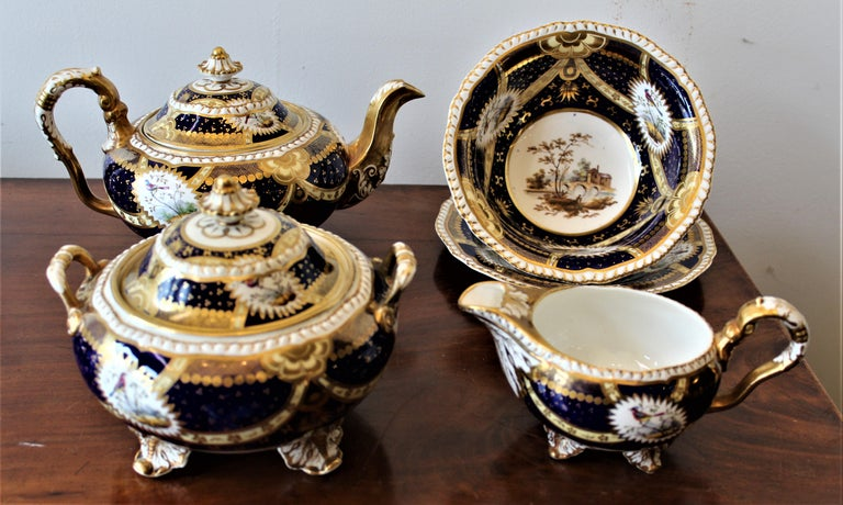 H & R Daniel Hand Pained Porcelain Tea or Coffee Set For Sale 9