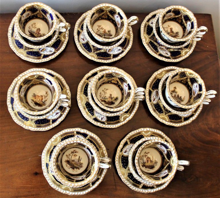 High Victorian H & R Daniel Hand Pained Porcelain Tea or Coffee Set For Sale