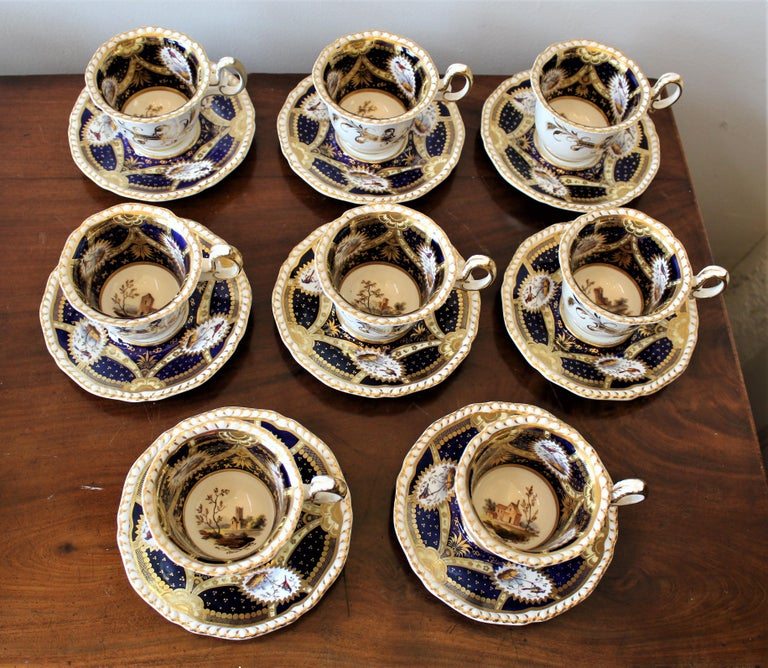 English H & R Daniel Hand Pained Porcelain Tea or Coffee Set For Sale