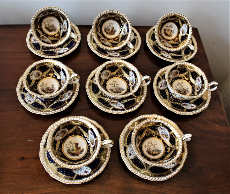 H & R Daniel Hand Pained Porcelain Tea or Coffee Set In Distressed Condition For Sale In Hamilton, Ontario
