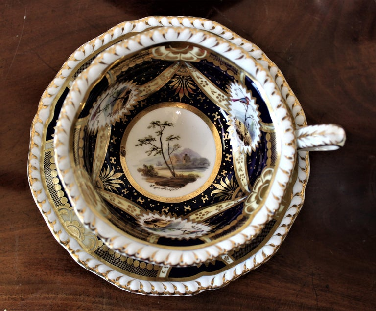 19th Century H & R Daniel Hand Pained Porcelain Tea or Coffee Set For Sale