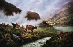 """""""Scottish Highland Misty River Landscape"""", cattle, original oil on canvas"""
