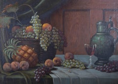 H. Reidl - Early 20th Century Oil, Fruit And Wine Still Life