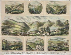 Panorama of Catskill Mountains N. Y. hand colored lithograph 1882 H. Schile