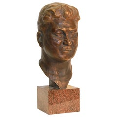 H. Siedentop, Life-Size Bust of a Man, Brown Patinated Bronze on Marble Base