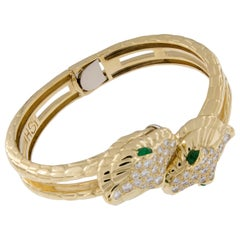 H. Steppenjay 18 Karat Gold, Diamond and Emerald Serpent Bangle Bracelet